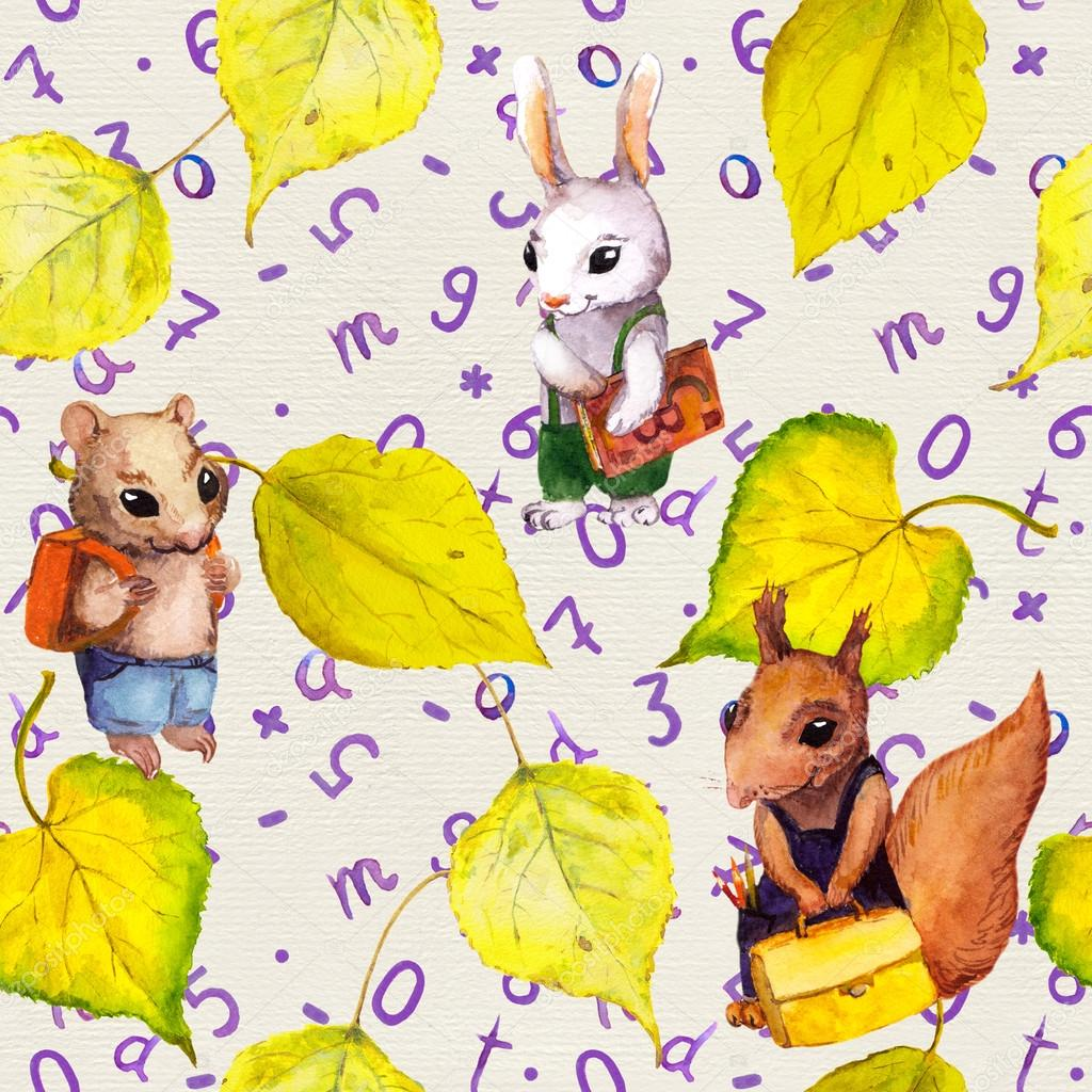 Seamless school pattern - childish animals, autumn leaves, letters. Watercolor