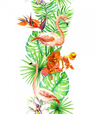 Tropical leaves, flamingo bird, orchid flowers. Seamless border. Watercolor frame