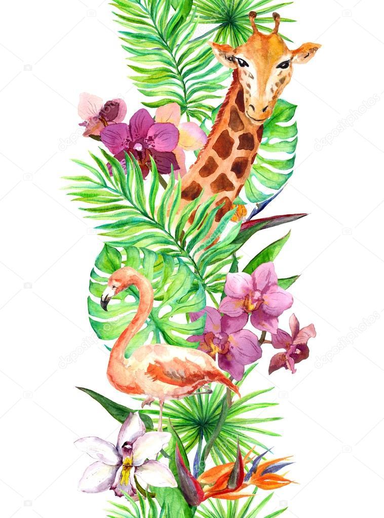 Tropical leaves, flamingo bird, giraffe, orchid flowers. Seamless border. Watercolor