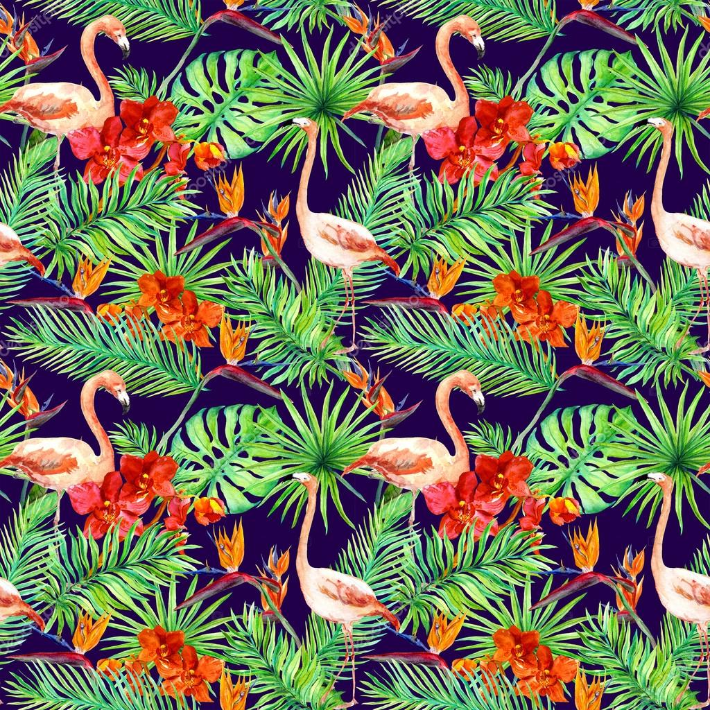 tropical design exotic leaves flamingos orchid flowers seamless