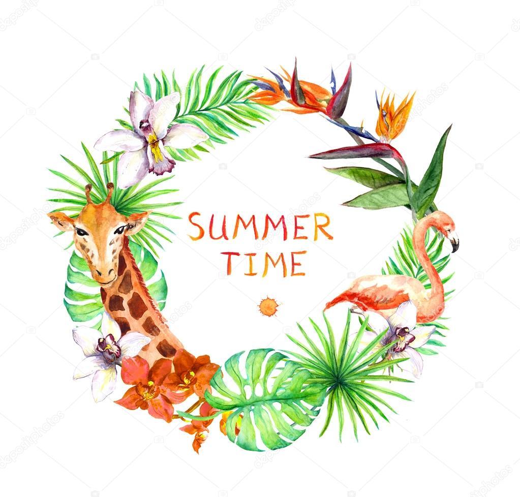 de tropical, exotique flamingo, girafe, fleurs d'orchidées