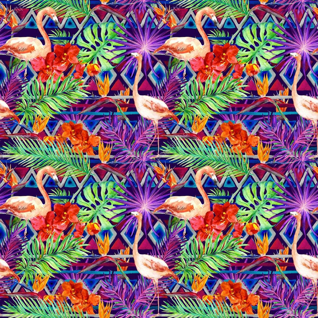 Tribal pattern, tropical leaves, flamingo birds. Repeated ethnic background. Watercolor