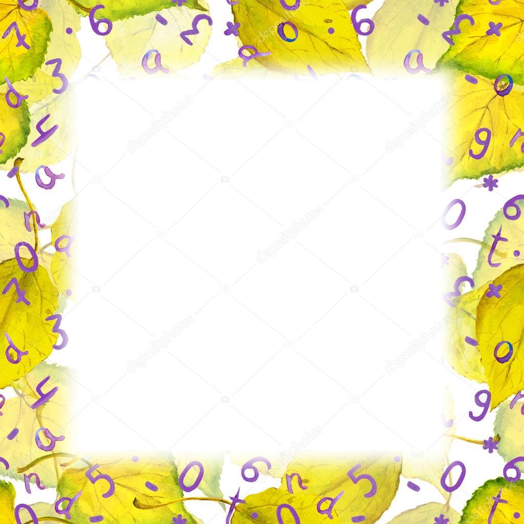 Hojas de otoño marco de frontera - amarillo, números, letras ...