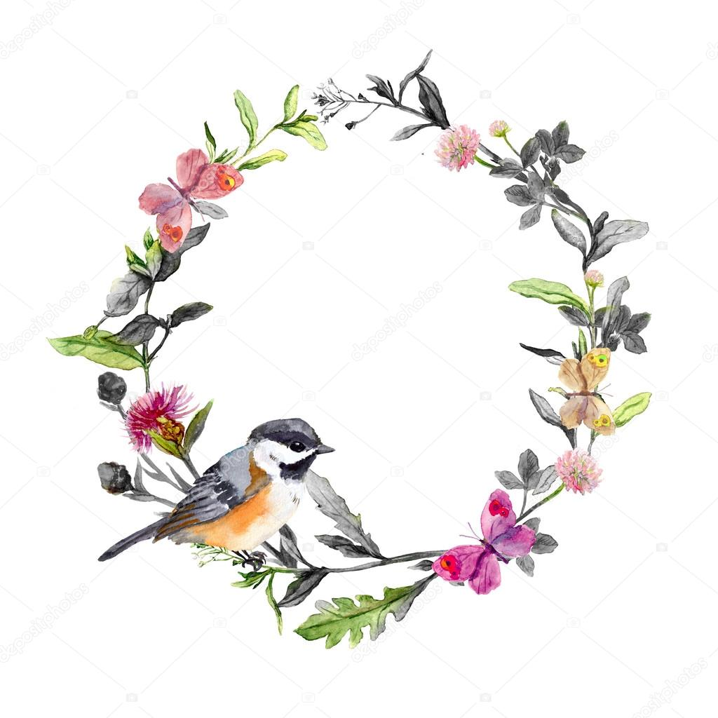 Border Wreath With Cute Bird And Meadow Grass Flowers Butterflies Black White Watercolor Circle Photo By Zzzorikk