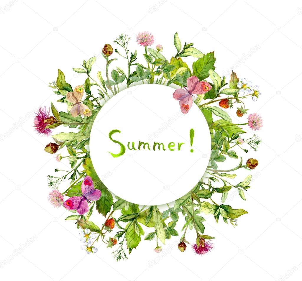 Wiesenblumen, Sommer Schmetterlinge. Karte - Kranz Rahmen. Aquarell ...
