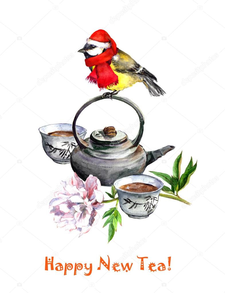 bird tit in holiday hat sitting on tea pot with flower new year greeting card watercolor photo by zzzorikk