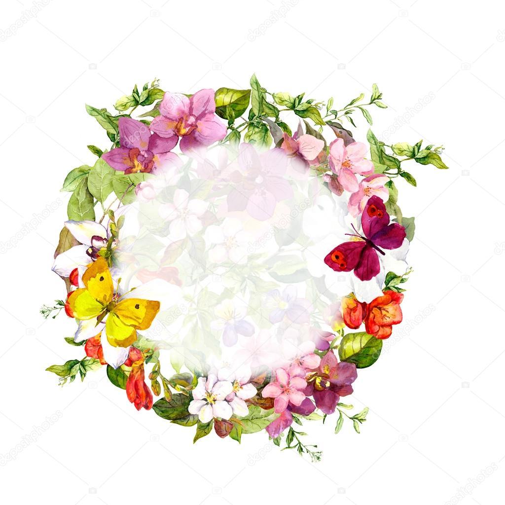 floral border frame butterflies flowers wild herbs watercolor