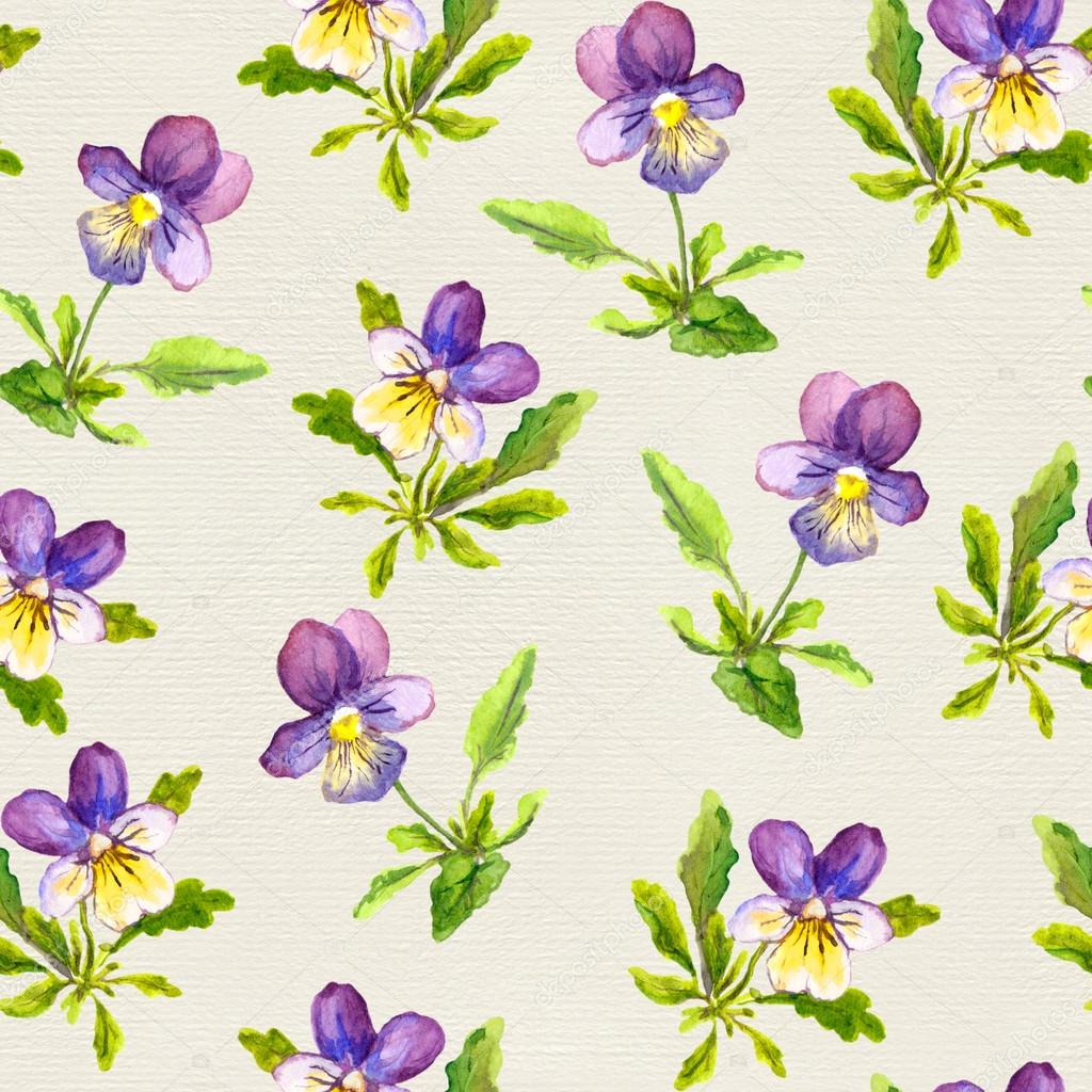 Seamless Floral Wallpaper With Hand Painted Violet Viola Flowers On Paper Texture Stock Photo