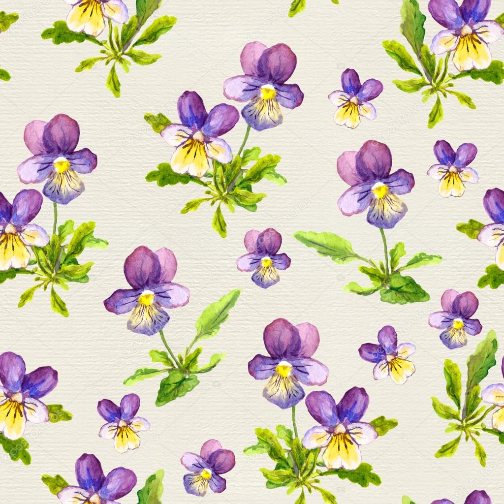 Hand painted seamless pattern with violet viola flowers on paper background