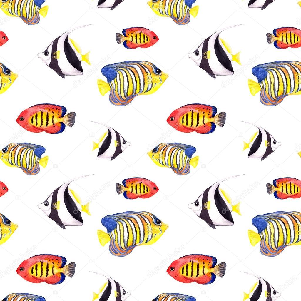 Exotic fish (tropical fish). Repeating seamless pattern. Watercolor