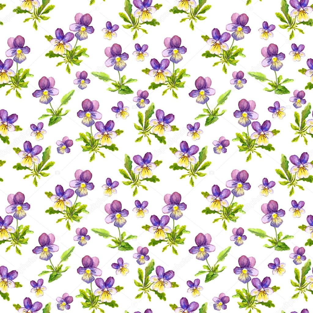Seamless Repeated Background With Watercolor Violet Viola