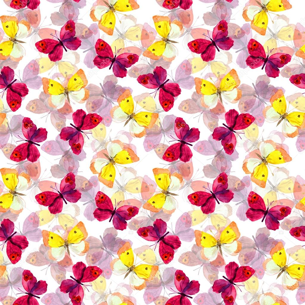 Seamless tiled pattern with bright and pastel watercolor hand painted cute butterflies