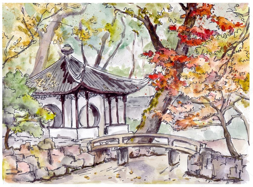 Chinese Garden With Bridge And Pagoda Pavilion In Suzhou China