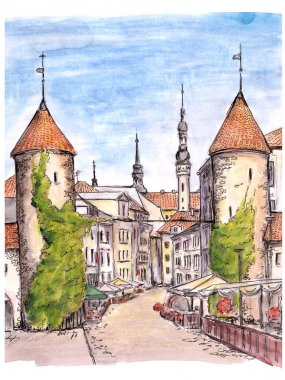 Hand painted sketch of gate of Tallinn town
