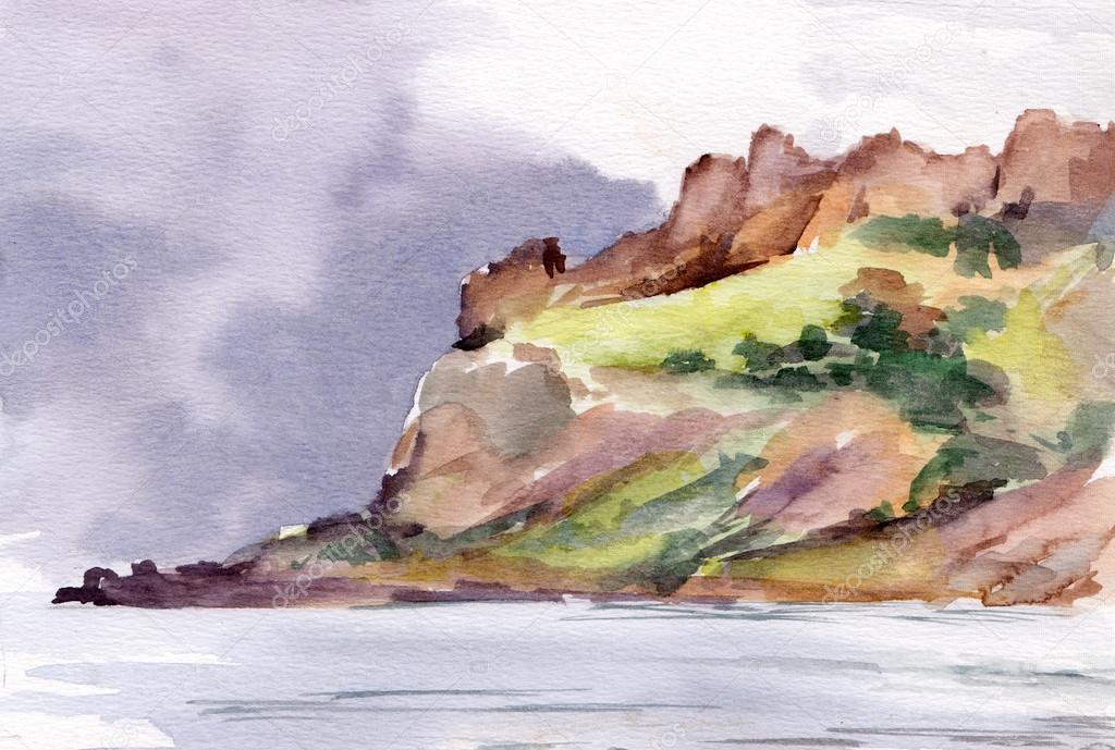 Watercolor sign - mountains and rain in sea