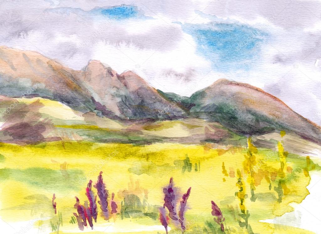 Watercolor, High mountain meadow - herbs, flowers