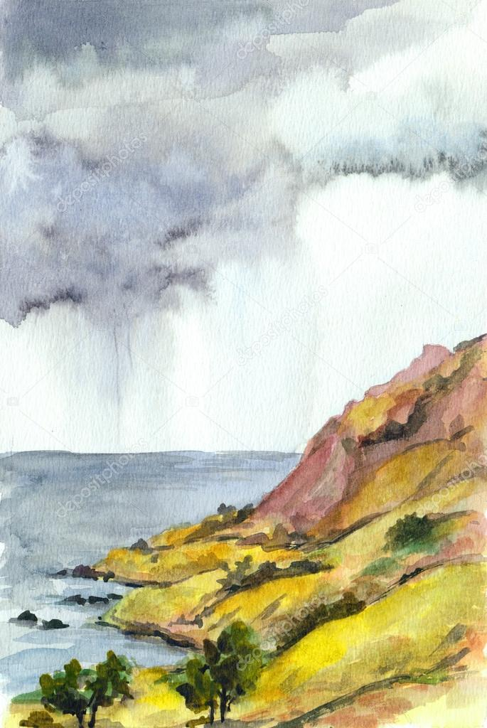 Watercolor landscape with sea and mountains. Rain clouds