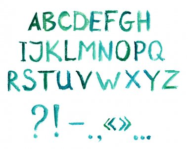 Hand painted alphabet with english letters and punctuation marks