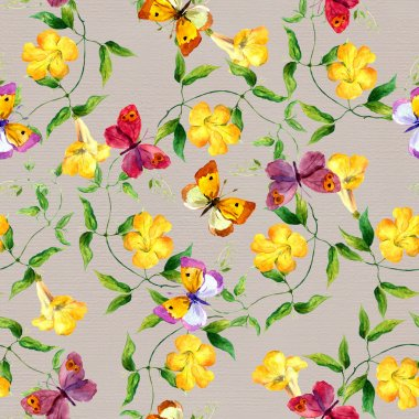 Yellow flower and butterfly. Seamless floral print. Watercolour