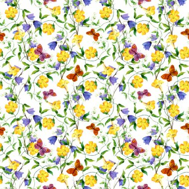 Yellow flower, bluebell, butterflies. Repeating floral pattern