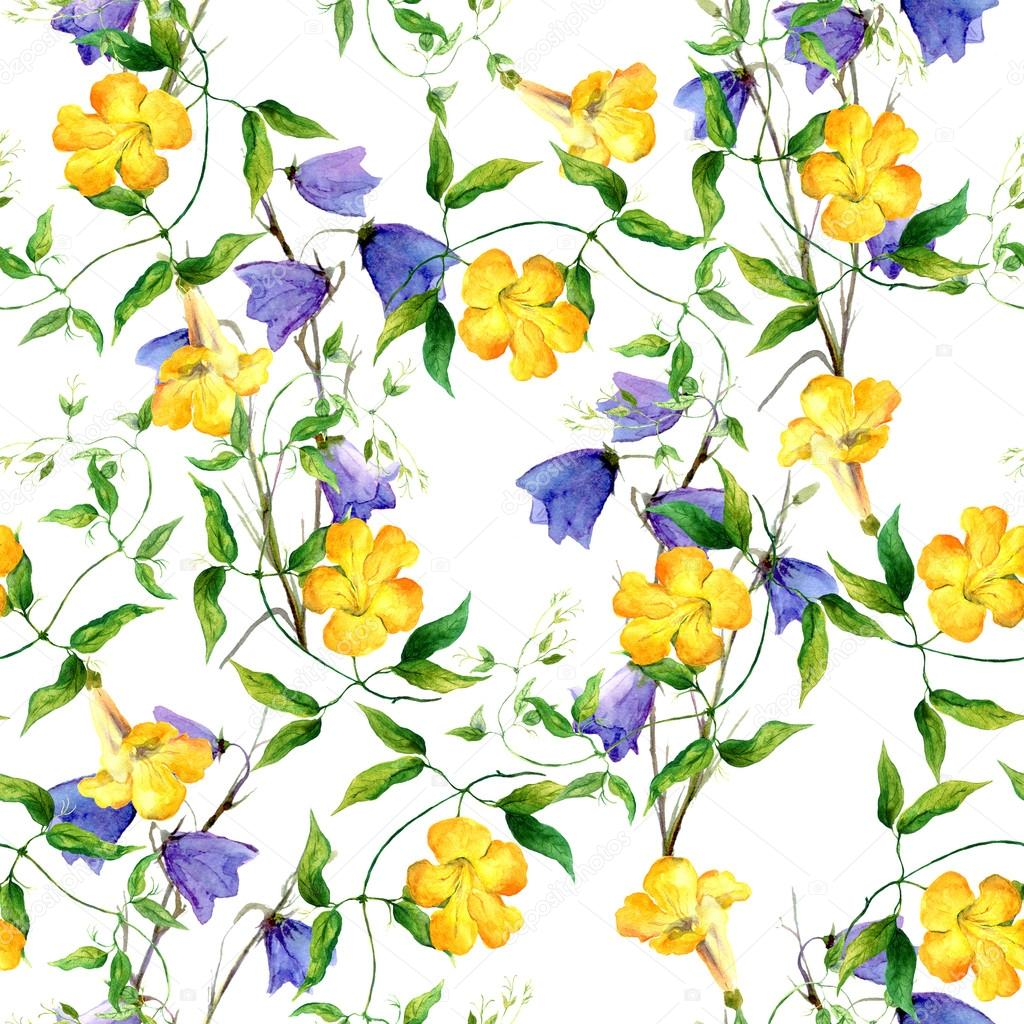 Yellow flower and bluebell. Repeating floral pattern watercolor