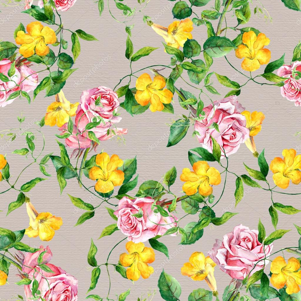 Repeating pattern with yellow flowers and roses watercolor stok repeating pattern with yellow flowers and roses watercolor stok fotoraf mightylinksfo
