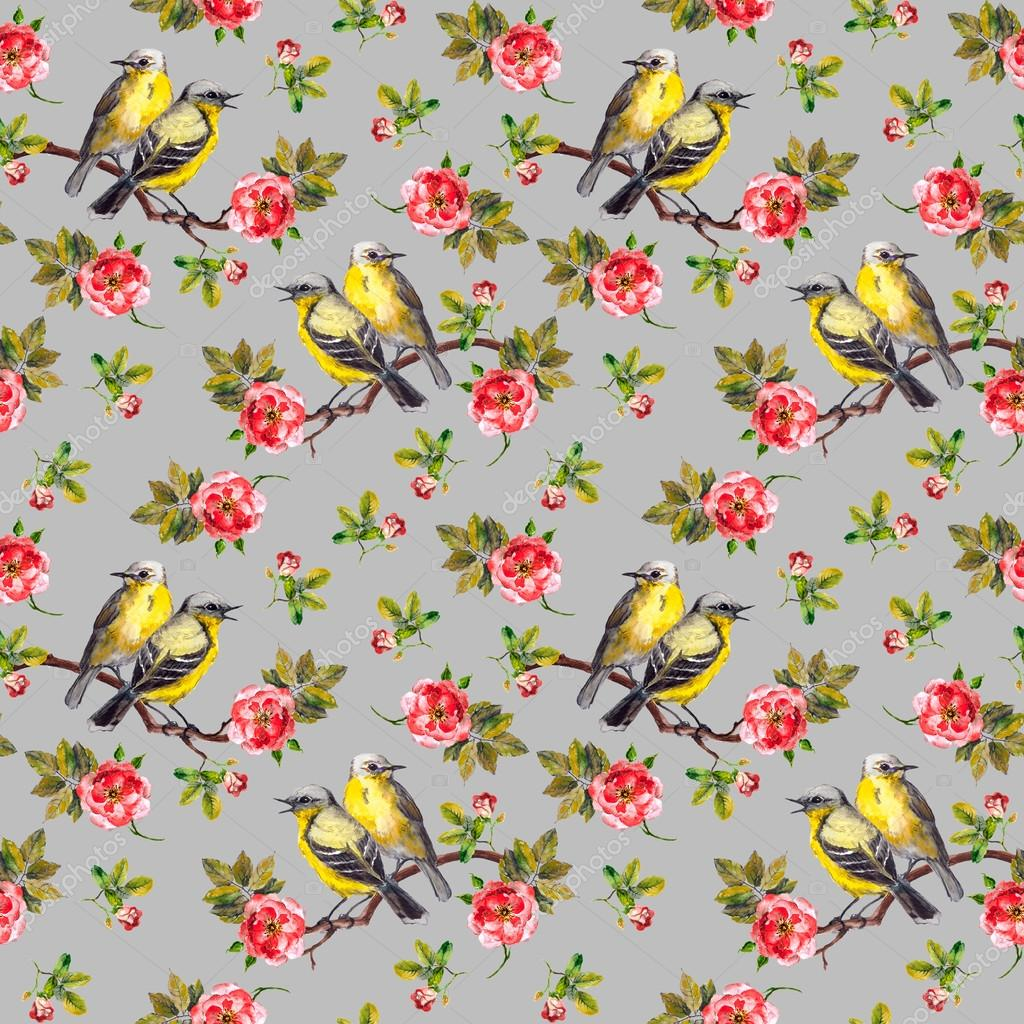 Repeating texture with birds and roses on grey background