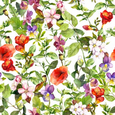 Meadow with wild grass, flowers, herbs. Vintage repeating floral pattern. Watercolor