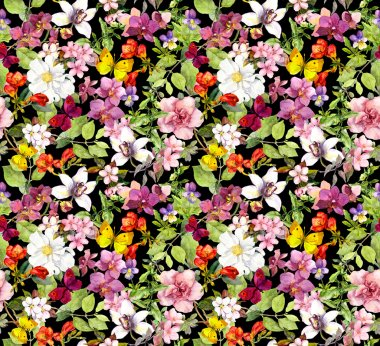 Lush flowers and butterflies on black background. Floral pattern. Water color