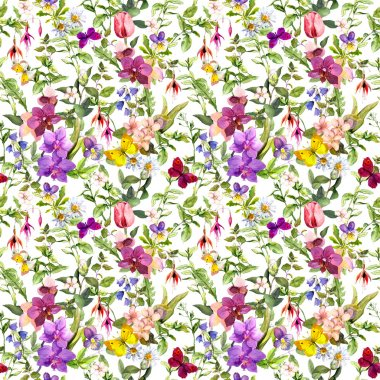 Seamless wallpaper - flowers and butterflies. Meadow floral pattern for interior design. Watercolor