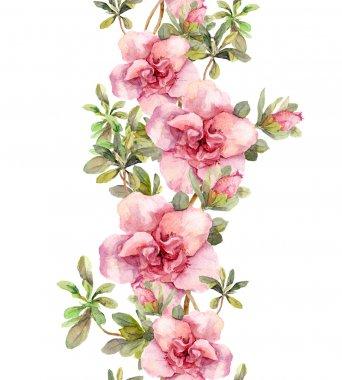 Floral seamless watercolor frame border with pink flowers. Aquare
