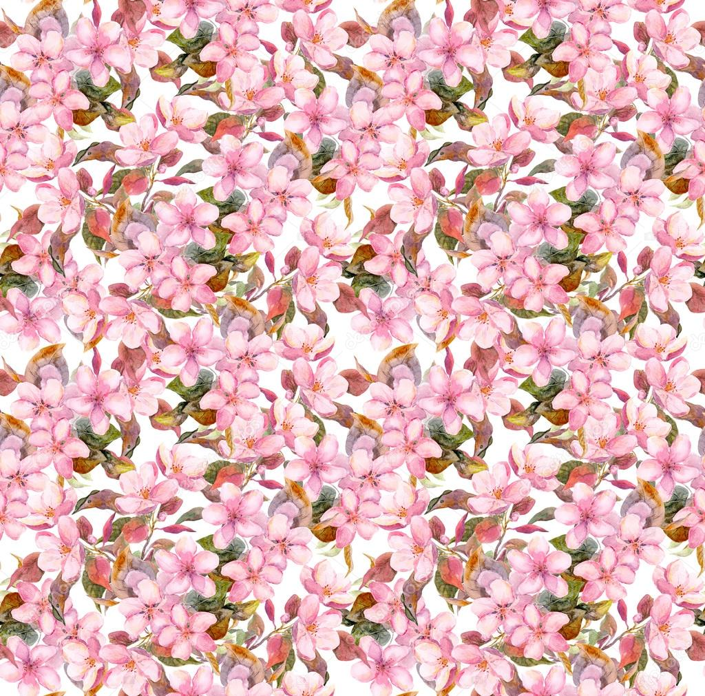 Sakura Flower Vintage Sakura Flowers Seamless Repeated