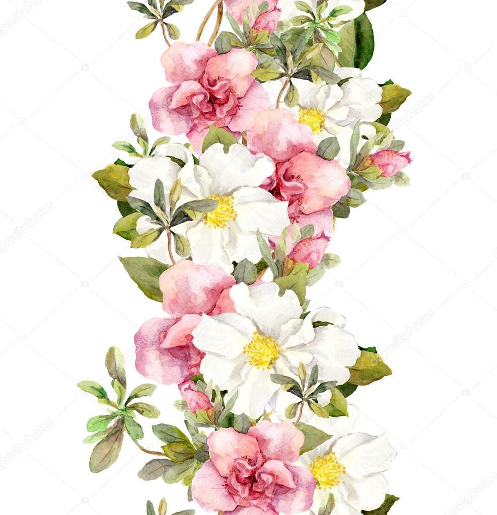 bordure de cadre d 39 aquarelle transparente floraux avec des. Black Bedroom Furniture Sets. Home Design Ideas