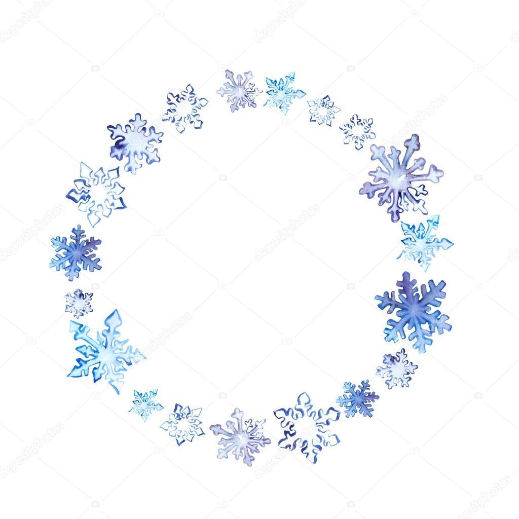 Corona con copos de nieve en invierno. Marco de círculo acuarela ...