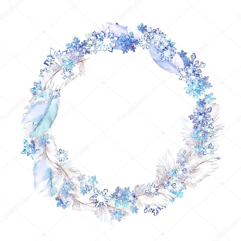 Corona con plumas y copos de nieve en invierno. Marco de círculo ...