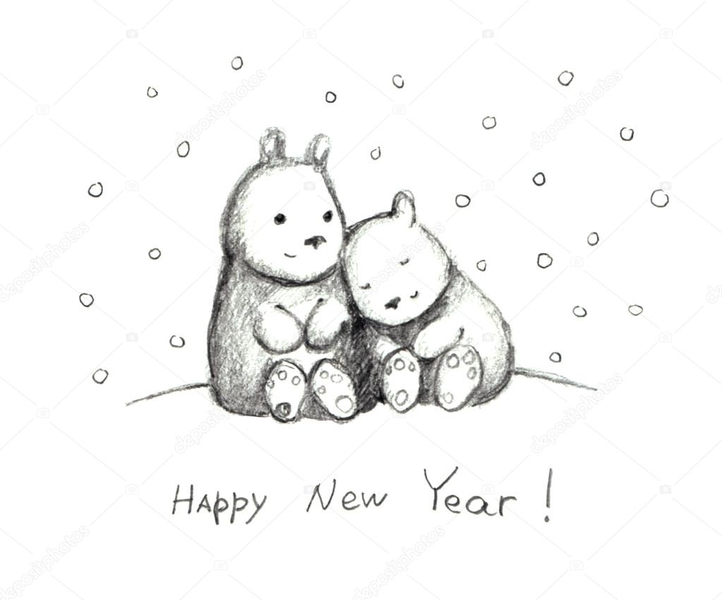 New year cute card with hugging teddies and snow pencil stock photo