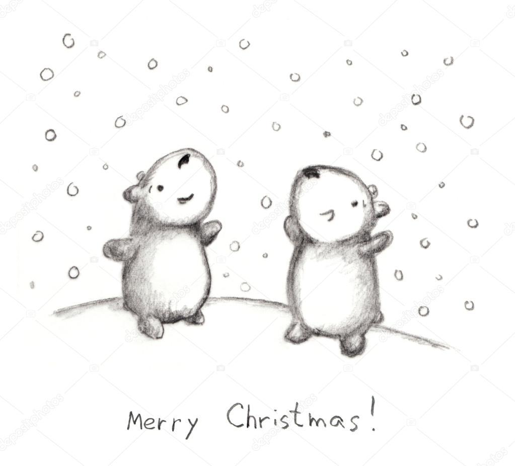 Hand-gezogene Weihnachten Skizze mit Bären und Schnee, Bleistift ...