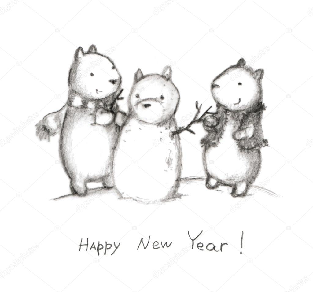 Открытки на новый год милые карандашом, спасибо вам