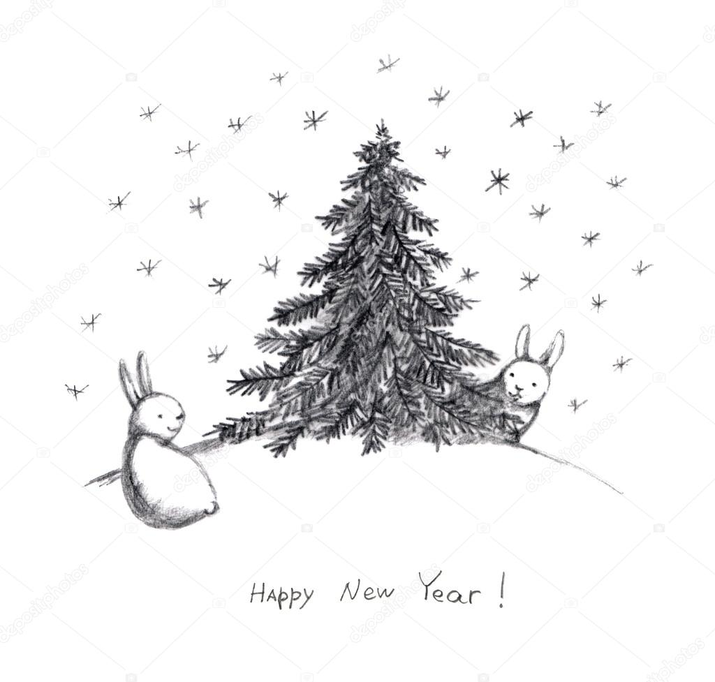 New year card with rabbits and snowflakes pencil sketch stock photo