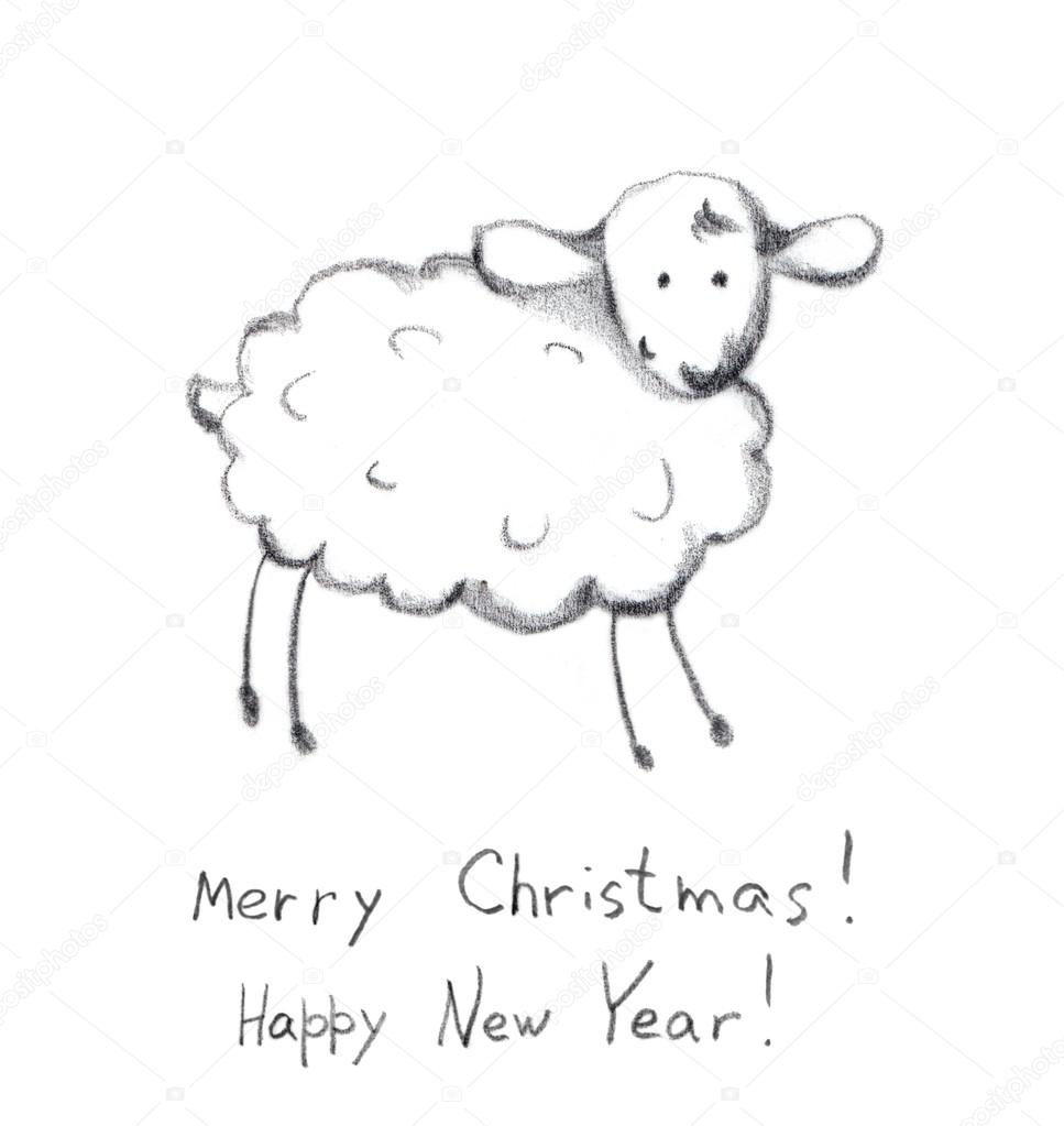 Pencil painted new year sheep in snow hand drawn sketch photo by