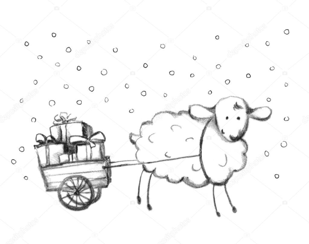 christmas sheep and sledge with gift box pencil painted. Black Bedroom Furniture Sets. Home Design Ideas