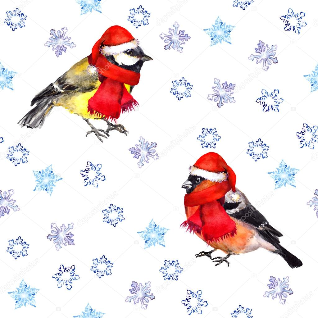 Seamless pattern with snowflakes and christmas birds in red hats