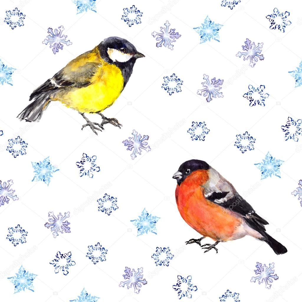 Winter seamless background with snowflakes and birds