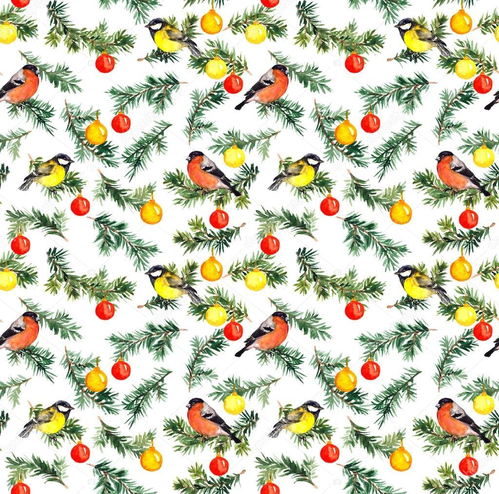 Tannenbaum Muster.Vögel Am Tannenbaum Mit Weihnachts Dekor Aquarell Muster