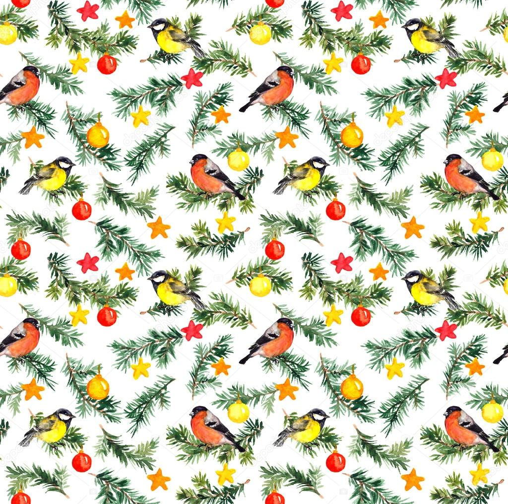 Birds on fir tree with christmas decor. Watercolor pattern