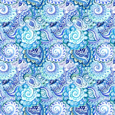 Ornate blue watercolor background with indian ornamental design