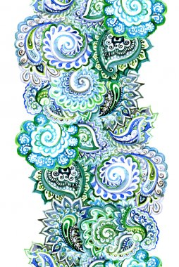 Watercolor endless ribbon with indian ornament