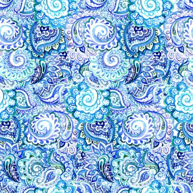 Ornamental indian seamless pattern with curves and paisleys