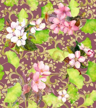 Vintage floral ornament. Seamless watercolor ornament
