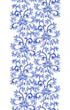 Floral asian ethnic repeating pattern. Watercolor ornament